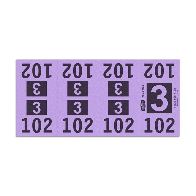 Etiquetas - Tickets Numerados  - CLEANER SUPPLY - #3 Morado 1000/1 - Und